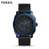 FOSSIL Machine 午夜藍銀色指針不鏽鋼計時手錶 男