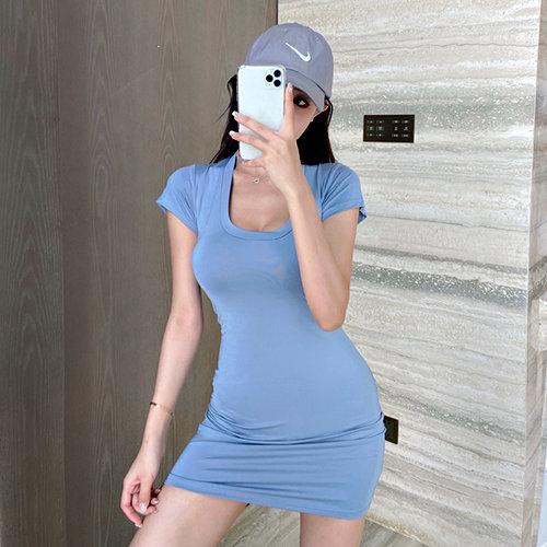 克妹Ke-Mei【AT60559】超有質感我超愛 深U低胸爆乳顯胸T恤洋裝