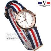 valentino coupeau 范倫鐵諾 法國巴黎風情 帆布錶帶 小圓錶/女錶 藍x白x紅x玫瑰金 V61576藍白紅5