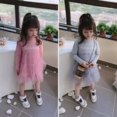 正韓春秋季洋裝 女童寶寶甜美公主裙 中小童拼接紗紗兒童連身裙 中秋降價