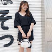 200斤加大尺碼 女裝2019夏裝適合胖mm仙女人穿的顯瘦T恤短褲兩件套裝