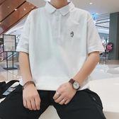夏季短袖t恤男士翻領體恤男裝有領Polo衫青年簡約襯衫領五分半袖【店慶八五折促銷】