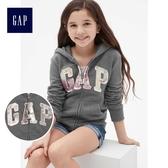 Gap女童 Logo雙面亮片連帽休閒上衣 468304-深石楠灰