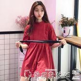 洋裝洋裝女2019新款韓版夏季學院風寬鬆木耳邊立領娃娃短裙學生裙子 爾碩數位3c