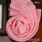 韓國專柜春秋冬季真絲絲巾女圍巾純色長柔軟舒適粉色絲巾披肩  城市玩家