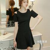 洋裝2018春夏新品女裝正韓時尚針織氣質修身打底短袖連身裙S-2XL黑色洋裝