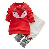 長袖套裝 加厚刷毛 長袖上衣 紅色小狐狸 棉質長褲 寶寶不倒絨套裝 CA18117 童裝