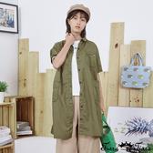 【Tiara Tiara】百貨同步新品aw 多口袋素色襯衫洋裝(白/綠)