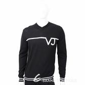 VERSACE 白色品牌字樣設計黑色針織羊毛衫 1710575-01