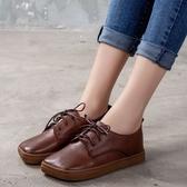 手工真皮女鞋35~40 2020百搭頭層牛皮方頭低跟紳士鞋鞋~2色