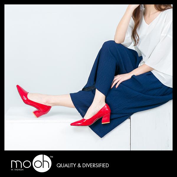 韓國尖頭漆皮粗跟紅色高跟鞋 簡約百搭低跟鞋 mo.oh (韓國鞋款)