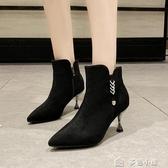 裸靴高跟短靴女細跟新款短筒冬及踝靴百搭鞋水鑽及踝靴尖頭馬丁靴