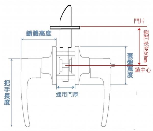 加安水平鎖LP3X90G-60mm 浴廁鎖 圓套盤 消光黑 左右不分邊都適用