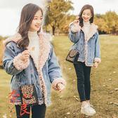 女童牛仔外套冬裝韓版刷絨加厚中大童女孩洋氣【奈良優品】