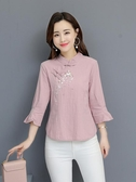 棉麻唐裝上衣女夏裝新款民族風女裝復古風漢服盤扣刺繡花立領茶服 韓國時尚週