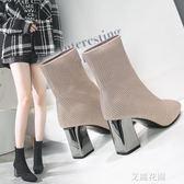 中筒靴女2018新款秋冬弹力毛线针织袜靴单靴韩版百搭高跟短靴粗跟『艾麗花園』