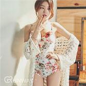 韓 夏日花漾 比基尼 泳裝 鋼圈集中  連身 泳衣 性感復古 游泳