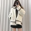 梨卡 - 皮革PU皮草毛茸茸皮絨外套短大衣 - 韓國皮毛一體羊羔毛寬鬆加厚短款外套風衣大衣FR002