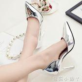 高跟鞋女士百搭銀色氣質尖頭淺口性感細跟側空單鞋中跟 全館免運