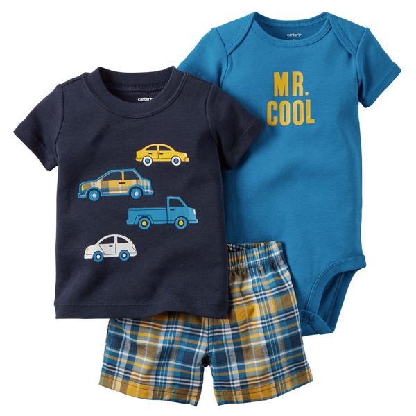 【美國Carter's】套裝3件組- 小車車短袖上衣+短褲+短袖包屁衣 121G393
