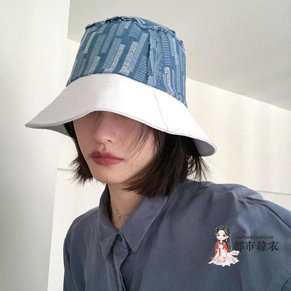 牛仔帽 日系漁夫帽簡約休閒小眾風春夏大檐遮陽防曬丹寧牛仔盆帽子男女潮 2色
