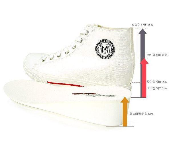 MNX15 - 時尚基本百搭款內增高高筒帆布鞋 RINO-白 UP 7 cm