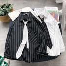 夏季條紋七分袖襯衫男韓版短袖港風ins加領帶襯衣日系寬鬆外套潮【快速出貨】