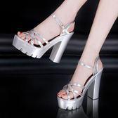 銀色走秀模特高跟鞋粗跟防水台13公分恨天高超高跟厚底大碼涼鞋女 露露日記