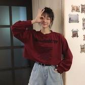 2020秋季新款字母印花韓版洋氣短款露臍寬鬆圓領長袖衛衣女ins潮 貝芙莉