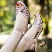 2019夏季新款涼鞋女鏤空粗跟水鉆高跟百搭時尚中跟韓版魚嘴女鞋子