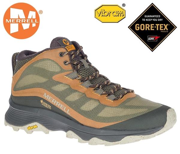 丹大戶外【MERRELL】美國 男款 MOAB SPEED MID GTX 中筒防水登山鞋 ML135411 墨綠/橘