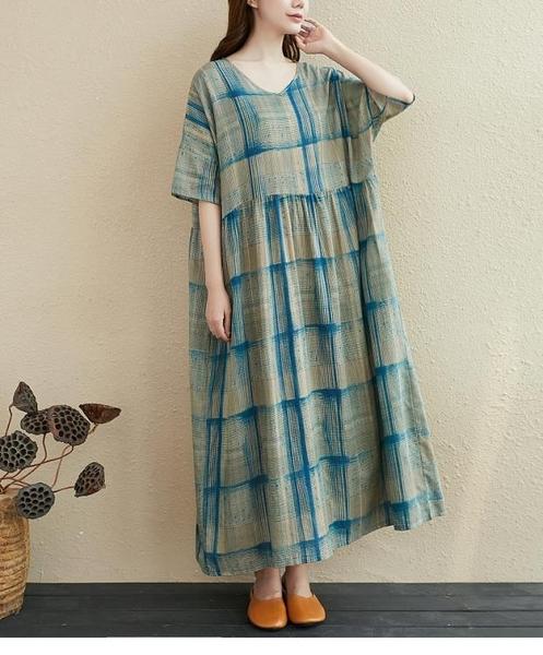 涼感洋裝連身裙2219#胖MM棉麻連身裙小清格子花色長裙子MB151-A.依品國際
