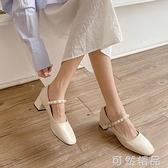 法式文艺小单鞋女方头百搭高跟鞋复古一字扣粗跟赫本玛丽珍伴娘鞋 可然精品