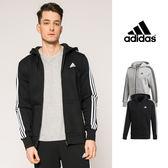 【GT】Adidas 黑灰 連帽外套 運動 休閒 復古 素色 棉質 刷毛 帽夾 愛迪達 三條線 基本款 Logo