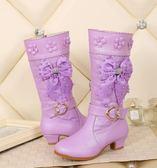 女童高跟靴新款2018冬季兒童公主靴皮靴高筒長靴中大童加絨雪地靴『櫻花小屋』