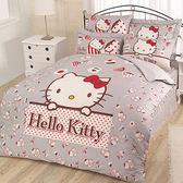 【享夢城堡】HELLO KITTY 時尚茶點系列-精梳棉雙人床包兩用被組(粉)(灰)