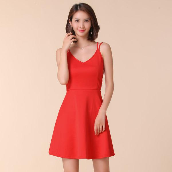 中大尺碼~高腰顯瘦針織性感吊帶禮服洋裝(F~4XL)