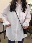 學院風長袖 韓版百搭白色長袖學院風襯衣春秋女裝新款寬鬆設計感外穿學生襯衫 小天後