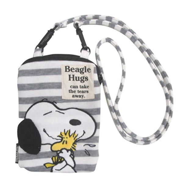 史努比 Snoopy 經典款 灰白條紋 拉鍊手機收納包 斜背包 日本正品 該該貝比日本精品 ☆