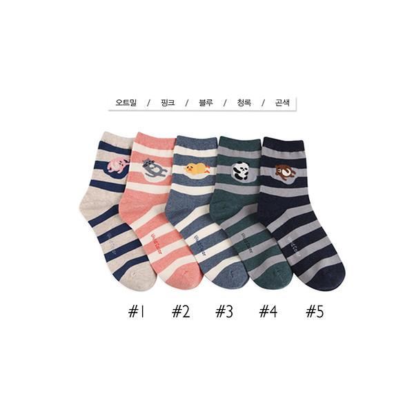 韓國慵懶動物條紋短襪-多款任選 (SOCK-322-W)