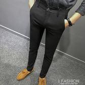 春夏新款男士西褲修身西裝褲中青年商務正裝上班西裝黑色長褲-Ifashion