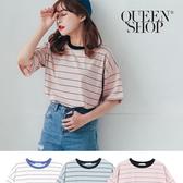 Queen Shop【01038213】撞色領百搭條紋棉T 三色售*現+預*