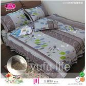 雙人特大【兩用被套+薄床包】(6*7尺)/高級四件式100%純棉雙人『艾麗絲』綠☆*╮