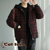 《貓尾巴》JP-03500 復古風格子連帽加厚雙口袋棉外套(森林系 日系 棉麻 文青 清新)