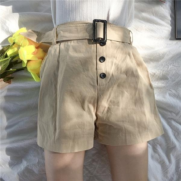 [超豐國際]夏季簡約純色寬松休閑短褲松緊腰百搭顯瘦闊腿熱褲女1入