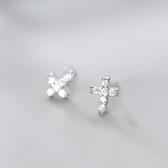 925純銀 滿鑽迷你十字架 天然白水晶 耳環耳釘針-銀 防抗過敏
