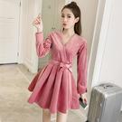 超殺29折 韓國風名媛氣質V領金絲絨系帶收腰顯瘦長袖洋裝