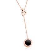 【5折超值價】 情人節禮物時尚精美特色鏤空愛心黑色羅馬圓墜造型女款鈦鋼項鍊