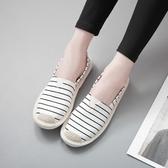 老北京布鞋女春秋平底韓版百搭懶人一腳蹬孕婦鞋休閒漁夫帆布鞋女 童趣屋