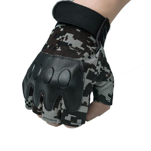 雙十二狂歡購閱兵迷彩戰術半指手套防滑透氣戶外運動軍迷健身格斗防護露指